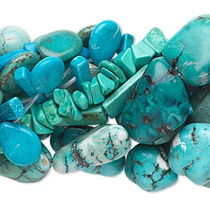 bead mix, magnesite (dyed / stabilized), mixed colors, 7mm-50x40mm mixed shape, d grade, mohs hardness 3-1/2 to 4. sold per pkg of (10) 15-inch strands.
