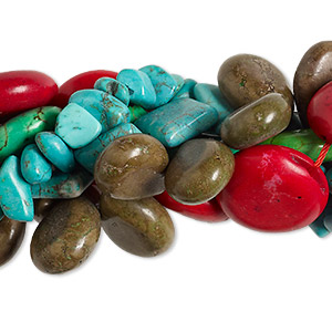 bead mix, magnesite (dyed / stabilized), mixed colors, 8x7mm-48x41mm mixed shape, d grade, mohs hardness 3-1/2 to 4. sold per pkg of (5) 16-inch strands.