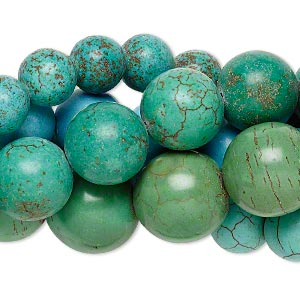 bead mix, magnesite (dyed / stabilized), multicolored, 10-22mm round, mohs hardness 3-1/2 to 4. sold per pkg of (5) 15-inch strands.