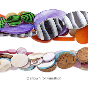 bead mix, mother-of-pearl shell (natural / bleached / dyed / coated), mixed colors, 10x8mm-35x25mm flat oval, mohs hardness 3-1/2. sold per pkg of (5) 14- to 16-inch strands.