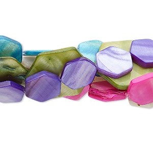 bead mix, mother-of-pearl shell (natural / bleached / dyed / coated), mixed colors, 16x15mm-31x28mm flat hexagon, mohs hardness 3-1/2. sold per pkg of (5) 14- to 16-inch strands.