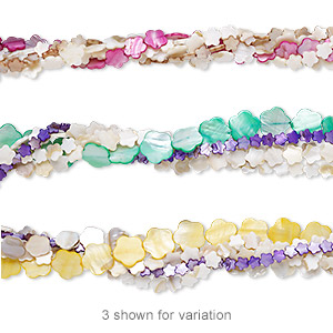bead mix, mother-of-pearl shell (natural / bleached / dyed), mixed colors, 13x13mm-25x25mm flat flower, mohs hardness 3-1/2. sold per pkg of (5) 14- to 16-inch strands.