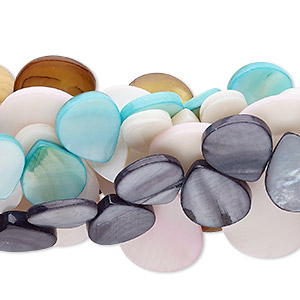 bead mix, mother-of-pearl shell (natural / bleached / dyed), mixed colors, 13x9mm-22x17mm top-drilled flat teardrop, mohs hardness 3-1/2. sold per pkg of (5) 14- to 16-inch strands.