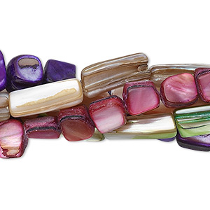 bead mix, mother-of-pearl shell (natural / dyed), mixed colors, 5-15mm stick, mohs hardness 3-1/2. sold per pkg of five 15-inch strands.