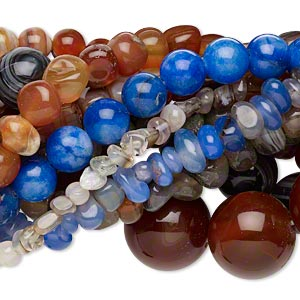 bead mix, multi-agate (natural / dyed / heated), multicolored, 7x5mm-11x9mm multi-shape, mohs hardness 6-1/2 to 7. sold per pkg of (10) 15-inch strands.