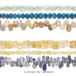 bead mix, multi-gemstone (natural / dyed / heated / irradiated), mixed colors, 4x3mm-12x11mm hand-cut mixed shape, mohs hardness 3 to 7. sold per pkg of (3) 6-inch strands.