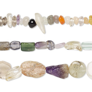 bead mix, multi-gemstone (natural / dyed / heated / irradiated), multicolored, 3x2mm-10x6mm hand-cut mixed shape, d grade, mohs hardness 3 to 7. sold per 12-inch strand.
