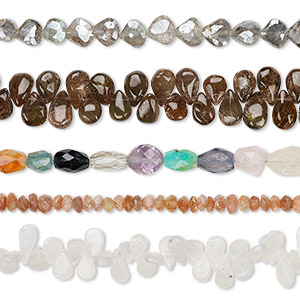 bead mix, multi-gemstone (natural / dyed / heated), mixed colors, 5x3mm-12x10mm hand-cut mixed shape, c grade, mohs hardness 3 to 7. sold per pkg of (5) 8-inch strands.