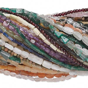 bead mix, multi-gemstone (natural / dyed / heated), mixed colors, hand-cut mixed size and shape, c grade. sold per pkg of (100) 14- to16-inch strands.