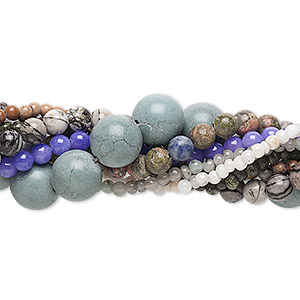 bead mix, multi-gemstone (natural / dyed / manmade) and glass, mixed colors, 4-14mm round, c grade. sold per pkg of (10) 15-inch strands.