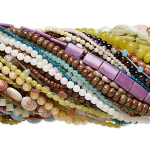 bead mix, multi-gemstone (natural / dyed / manmade) and glass, multicolored, 3x3mm-30x15mm mixed shape, c grade. sold per pkg of (100) 15- to 16-inch strands.