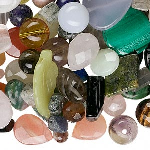 bead mix, multi-gemstone (natural / dyed / manmade), mixed colors, 4-35mm mixed shape, c grade. sold per 6-ounce pkg, approximately 70-140 beads.