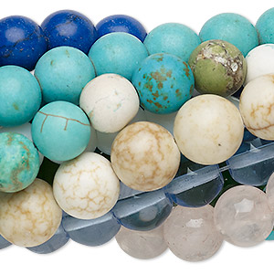 bead mix, multi-gemstone (natural / dyed / stabilized / heated / imitation) and glass, mixed colors, 9-10mm round. sold per pkg of (10) 7-inch strands.