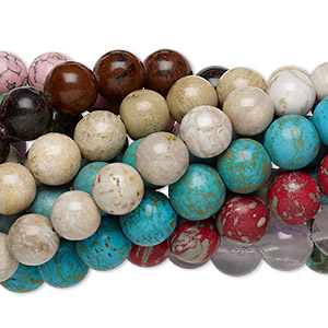 bead mix, multi-gemstone (natural / dyed / stabilized / imitation / assembled), multicolored, 16-17mm round, mohs hardness 3 to 7. sold per pkg of (10) 7-inch strands.