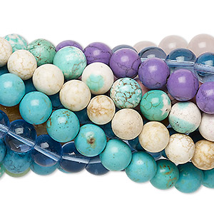 bead mix, multi-gemstone (natural / dyed / stabilized / imitation) and glass, multicolored, 11-12mm round, mohs hardness 3 to 7. sold per pkg of (25) 7-inch strands.