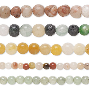 bead mix, multi-gemstone (natural / dyed) and glass, multicolored, 4-6mm round, d grade. sold per pkg of five 15-inch strands.