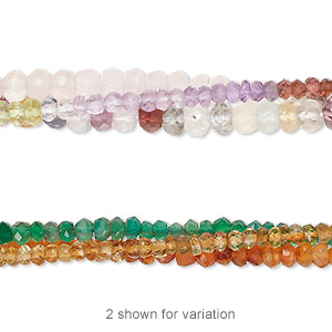 bead mix, multi-gemstone (natural / heated / dyed / irradiated), multicolored, 2x1mm-5x4mm hand-cut faceted rondelle, c grade. sold per pkg of (3) 13-inch strands.