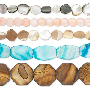 bead mix, multi-shell and resin (natural / assembled / bleached / dyed), mixed colors, 7x7mm-41x31mm mixed shape, mohs hardness 3-1/2. sold per pkg of (5) 15-inch strands.