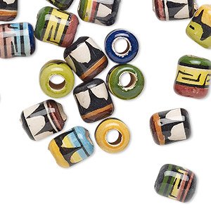 bead mix, painted ceramic, multicolored, 9x7mm round tube with geometric design, 3mm hole. sold per pkg of 20.
