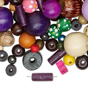 bead mix, painted wood, mixed colors, 2-50mm mixed shape. sold per 1-pound pkg, approximately 1,700 to 2,600 beads.