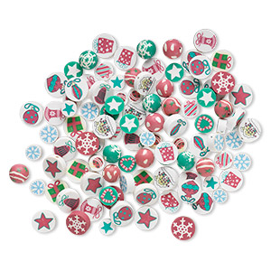 bead mix, polymer clay, mixed colors, 10-15mm round and flat round with christmas designs. sold per pkg of 100.