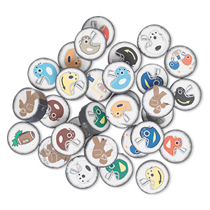 bead mix, polymer clay, multicolored, 14mm double-sided flat round with football designs. sold per pkg of 30.