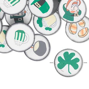 bead mix, polymer clay, multicolored, 14mm double-sided flat round with st. patricks day designs. sold per pkg of 30.