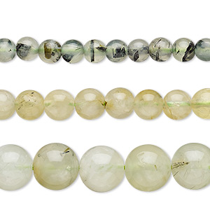 bead mix, prehnite (natural), 4-10mm round, mohs hardness 6 to 6-1/2. sold per pkg of (3) 15-inch strands.