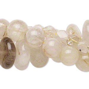 bead mix, rutilated quartz (natural), 5x5mm-25x19mm hand-cut multi-shape, mohs hardness 7. sold per pkg of (3) 14-inch strands.
