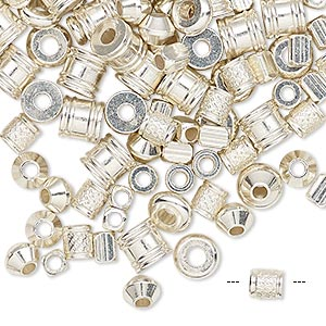 bead mix, silver-finished brass, 4x3mm-6x5.5mm mixed shape. sold per 1/4 pound pkg, approximately 300-330 beads.