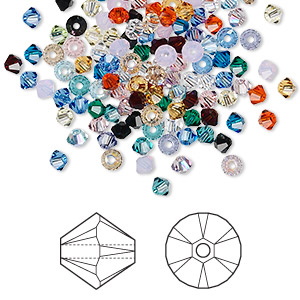 bead mix, swarovski crystals, crystal passions, mixed colors, 3mm xilion bicone (5328). sold per pkg of 144 (1 gross).