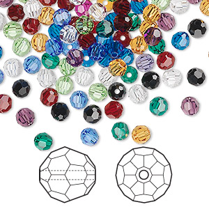 bead mix, swarovski crystals, mixed colors, 4mm faceted round (5000). sold per pkg of 1,440 (10 gross).