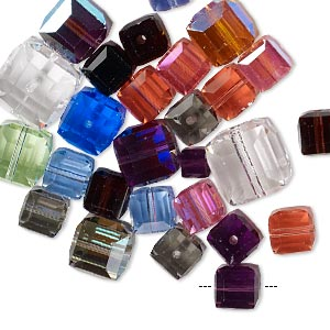 bead mix, swarovski crystals, mixed colors, 4x4mm-12x12mm faceted cube. sold per 25-gram pkg, approximately 30 beads.