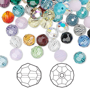 bead mix, swarovski crystals, mixed colors, 6mm faceted round (5000). sold per pkg of 360.