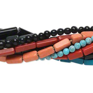 bead mix, turquoise / coral / glass (imitation), 3mm-11x4mm hand-cut multi-shape. sold per pkg of (10) 14-inch strands.