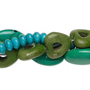 bead mix, turquoise (dyed / imitation), 6x4mm-20x15mm mixed shape. sold per pkg of (3) 15-inch strands.