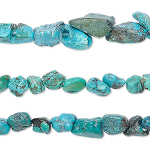 bead mix, turquoise (dyed / stabilized), blue and blue-green, mini to small nugget, mohs hardness 5 to 6. sold per pkg of (3) 15-inch strands.