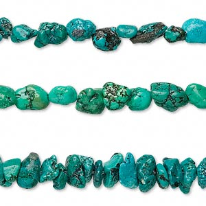 bead mix, turquoise (dyed / stabilized), small to large chip and mini to small nugget, mohs hardness 5 to 6. sold per pkg of (3) 15-inch strands.