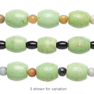 bead mix, turquoise (imitation) / multi-gemstone (natural / dyed / heated) / glass, light apple green and black, 5-6mm round / 6x4mm-8x6mm / 13x12mm-16x13mm barrel. sold per pkg of 7.