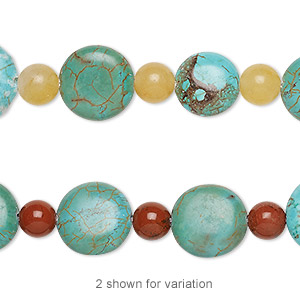 bead mix, turquoise (imitation) / red jasper / cream quartz (natural), light blue and blue-green, 6mm round and 10-14mm puffed flat round. sold per pkg of 11.