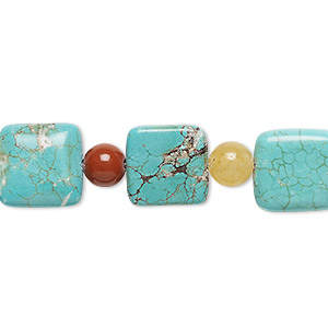 bead mix, turquoise (imitation) / red jasper / golden quartz (natural), blue-green and light blue, 6-7mm round and 12x12mm puffed square. sold per pkg of 11.