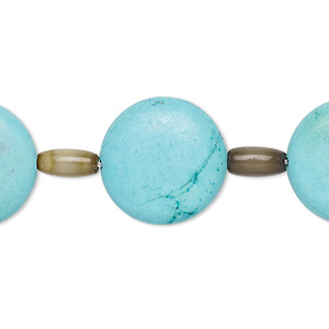 bead mix, turquoise (imitation) and cats eye glass, light blue and camo green, 9x6mm barrel and 18mm puffed flat round. sold per pkg of 7.