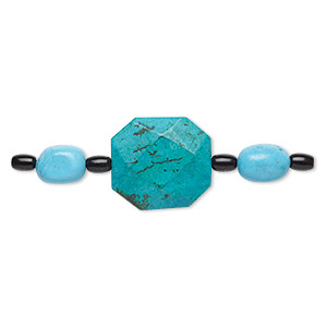 bead mix, turquoise (imitation) and glass, dark teal green / blue / black, 6x4mm barrel / small nugget / 24x20mm-28x22mm faceted flat octagon. sold per pkg of 7.