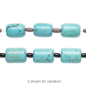 bead mix, turquoise (imitation) and glass, light teal green and blue-green, 6x4mm-9x6mm barrel and 18x13mm-21x15mm round tube. sold per pkg of 7.
