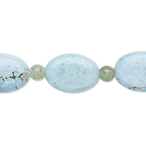 bead mix, turquoise (imitation) and green aventurine (natural / dyed), light blue, 5-6mm round and 17x13mm-18x14mm puffed oval. sold per pkg of 7.
