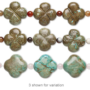 bead mix, turquoise (imitation) and multi-gemstone (natural / dyed / heated), green-brown, 6mm round and 24x24mm-25x25mm carved flower. sold per pkg of 7.