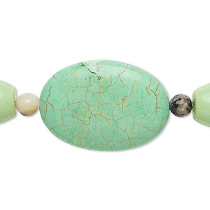 bead mix, turquoise (imitation) and multi-gemstone (natural / dyed / heated), light kelly green, 5-6mm round / 13x12mm-14x13mm barrel / 35x25mm puffed oval. sold per pkg of 7.