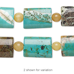 bead mix, turquoise (imitation) and peach quartz (natural), teal green and blue-green, 5-6mm round and 17x13mm-18x13mm puffed rectangle. sold per pkg of 7.