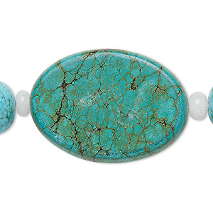 bead mix, turquoise (imitation) and snow quartz (natural), blue-green and light blue, 6x4mm rondelle / 16x13mm barrel / 35x25mm flat oval. sold per pkg of 7.