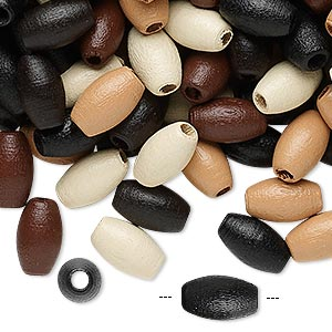 bead mix, wood, mixed colors, 10x6mm oval. sold per 90-gram pkg, approximately 800 beads.